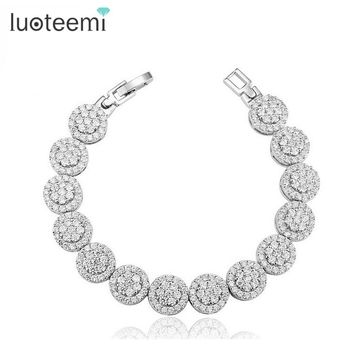 LUOTEEMI Womem Bangle Bracelet Luxury AAA Small Cubic Zirconia Stones Paved Shining CZ Bracelet Wedding Bracelet for Women