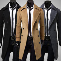 2015 Mens Slim Fit Trench Coat Winter Warm Long Jacket Double Breasted Overcoat