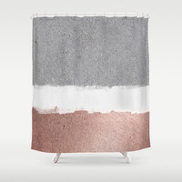 Concrete and rose gold Shower Curtain by Printapix