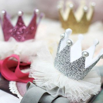 Queen Crown Baby Girls Brithday Shiny Hairband Toddler Elastic Mesh Pearl Headband Hair Accessories Kids Princess Hairband