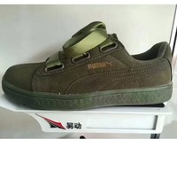 PUMA BOW Trending Fashion Casual Sports Shoes knot Olive green