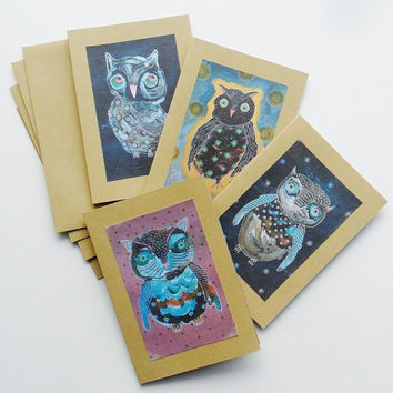 Owl Cards - Greetings Cards - Set Of Cards - Owl Card Set - Baby Owls - Owl Art Cards - Nursery Owl Art - Cute Owl Cards - Baby Owl Cards