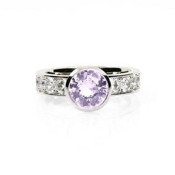 Light violet amethyst ring, white sapphire engagement ring, unique ring, bezel engagement, purple, lavender, palladium engagement, sapphire