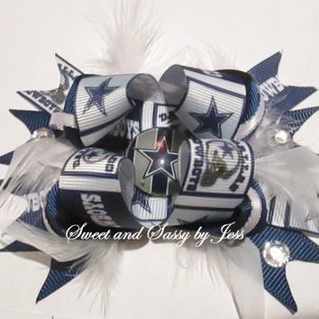 Dallas Cowboys OTT bow, Cowboys bow, Big Cowboys Bow, Girls bows, Boutique bows, Dallas Cowboys, toddler bows, big hair bow, OTT bow, NFL