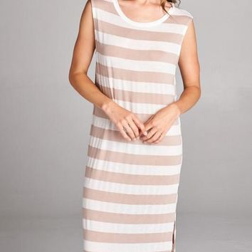 Sheer Stripe Long Dress