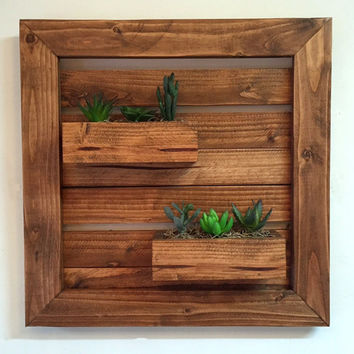 Rustic wall planter with artificial succulents, wood wall hanging, rustic planter, succulent planter, reclaimed wood planter, wood wall art