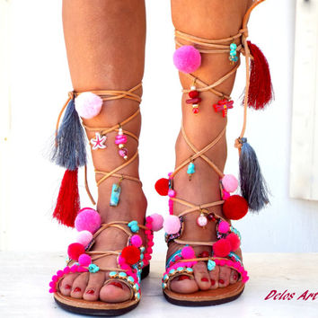 Pink Pom Pom Sandals, Leather Sandals, Gladiator sandals, Greek Sandals, pink  Colorful Sandals, beaded sandals, boho