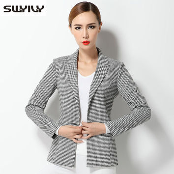 Houndstooth Women's Suit Jacket 2016 Spring And Autumn Slim Blazer Feminino Fashion Ladies Blazer Women Formal Office Coat