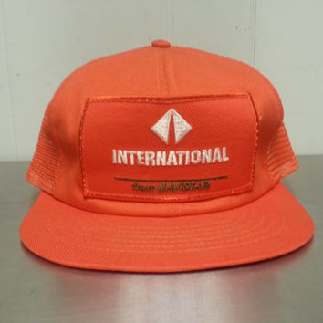 Vintage 90's Internations By Navistar Mesh Trucker Hat Orange Made In USA Patch Snapback Very Clean