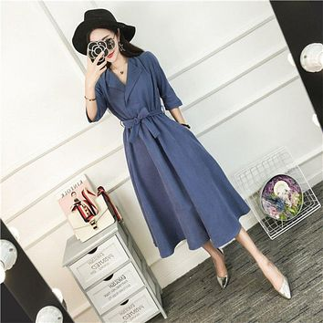 Women Autumn Elegant Slim Dress Empire Waist  V-neck Fashion Female Spring Dresses Solid