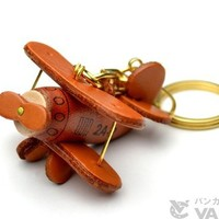 Propeller Airliner Leather Vehicles KH Keychain VANCA CRAFT-Collectible keyring Made in Japan
