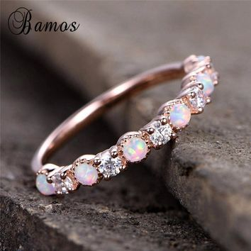 Bamos White Fire Opal Engagement Ring Dainty Zircon Stacking Wedding Rings For Women Vintage Rose Gold Filled Jewelry Best Gift