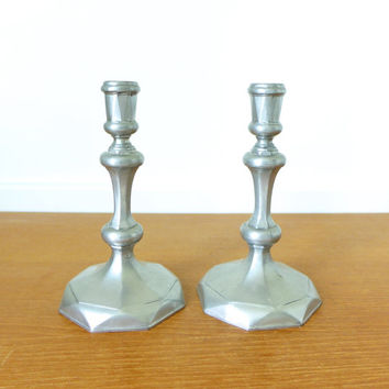 Two Williamsburg Steiff Queen Anne Pewter candlesticks marked CW - 30, unpolished