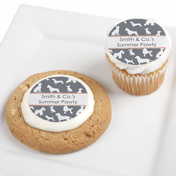Dog Silhouettes - Personalized Dog Party Edible Cupcake Toppers - 12 ct