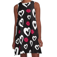 'Lips Loves Kisses' Women's Chiffon Top by PeaceLuvJoy