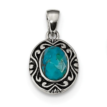 Sterling Silver Antiqued Finish Recon. Turquoise Pendant