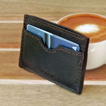 Handmade Slim Leather Wallet for Men - Front Pocket, Personalized, Monogrammed, Gift for Him, Hand-stitched
