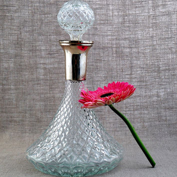 Vintage Glass Wine Decanter with Silver Plated Neck / Glass Liquor Decanter / Crystal Like Liquor Bottle