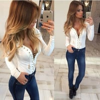 Lace-Up Plunging Long Sleeve Bandage Top