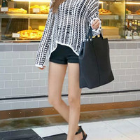 Black and White Loose Knit Sweater