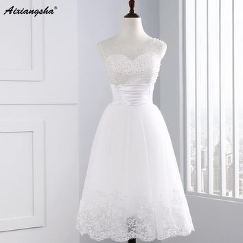 2017 Short Wedding Dresses Scoop Sleeves  Tulle 2017 O Neck A line Bridal Gowns Dress