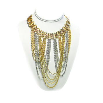 Napier Long Bib Necklace Gold Silver Tone Looping Chains