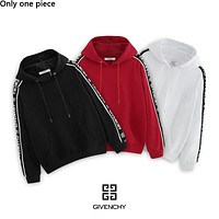 Givenchy hot seller of casual couples with LOGO stripes on the side and fashionable hoodies