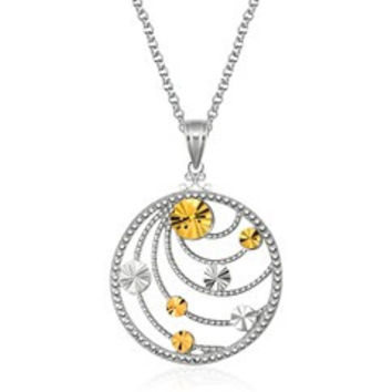 Swirl Medallion Pendant With Chain In 14k Yellow Gold and Sterling Silver