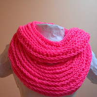 SALE Neon Pink Ribbed Crochet Double Loop Infinity Circle Scarf