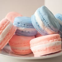 French Macaron Soaps - Peach Blueberry - Spring soap -  2 macaroons - food soap - 5.2 oz - pastel orange and blue