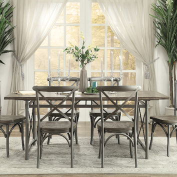 Homelegance HE-5608-76-7PC 7 pc Springer weathered gray finish wood tone top dining table set