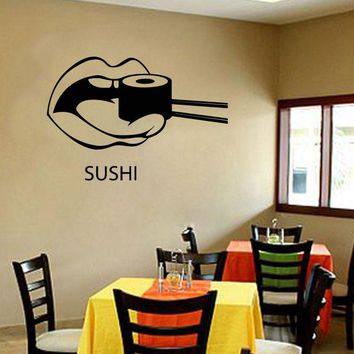 Wall Decal Sushi Food Japan Oriental Restaurant Vinyl Stickers Art Mural Home Decor Vinyl Silhouette Stencil  K50