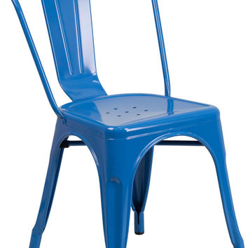 Tolix Style Blue Metal Indoor-Outdoor Chair