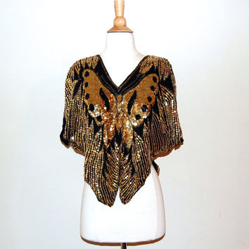 70s 80s SEQUIN Butterfly Top . Beaded Silk Disco Blouse . S M