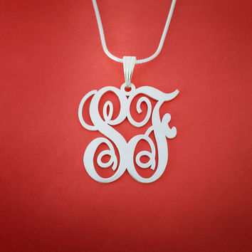 Monogram Necklace Custom Monogram Necklace Valentine's Day Gift Monagram Necklace Monnogram Necklace 2 Initials Monogram Monogramm Necklace