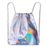 Women Backpacks Soft Functional Stylish Rainbow Colorful Metallic Silver Laser Holographic Drawstring Bags