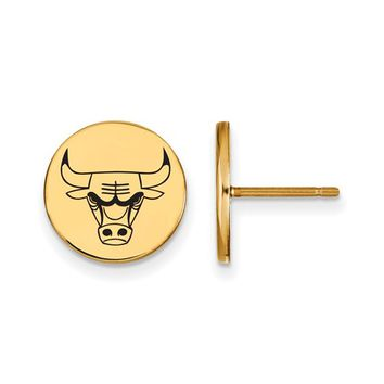 NBA 14k Yellow Gold Plated Silver Chicago Bulls Enamel Disc Earring
