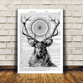 Wall decor Animal art Dictionary print Deer poster RTA101