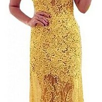 Women's Lace Hollow Out Patchwork Floor Length Chiffon Dress Yellow