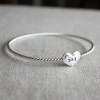 True Love Bangle Bracelet sterling silver by amycornwell on Etsy