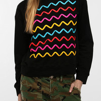 Urban Outfitters - Le Shirt Puffy Paint Zigzag Sweatshirt