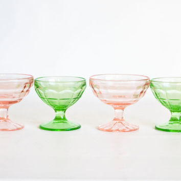 Vintage 1930s Depression Glass Sherbert Set, Ice Cream Pink and Green Glasses, Optic Dessert Cups, Uranium Glass
