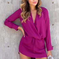 Boulevard Chiffon Long Sleeve Wrap Dress