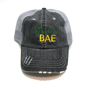Wisconsin Hat - Gray Distressed Trucker Hat - Green Bae