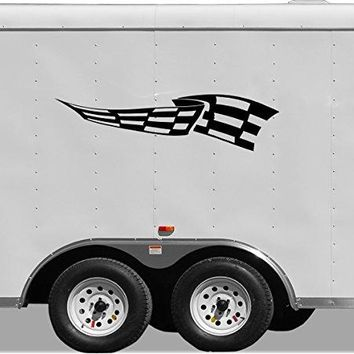 Checkered Flag Motor Cross Street Track Motorcycle Racing Trailer Decals Stickers Mural One Color 2 Graphics 2b