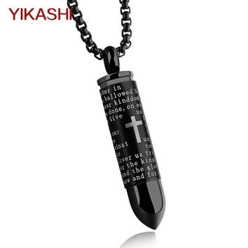 YIKASHI Mens punk Necklace Pendant Stainless Steel Chain Male Bullet Cross Silver Gold Black Color Amulet Soldier jewelry