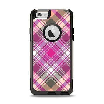 The Gray & Bright Pink Plaid Layered Pattern V5 Apple iPhone 6 Otterbox Commuter Case Skin Set
