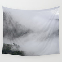 Foggy mountains. Mystery woods. Wall Tapestry by Guido Montañés