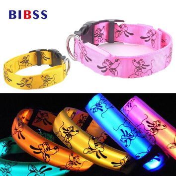 Night Glowing LED Dog Collar Nylon Flash Luminous Collar for Dogs Cats 6 Colors Small Large Breed Pet Harness Animal Accessories