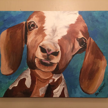 Goat canvas art print from original canvas goat painting this is 'Millie'
